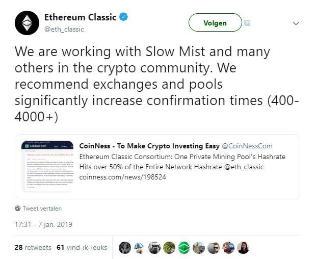 """Ethereum Classic: """"Oeps, er is toch wel iets aan de hand"""""""