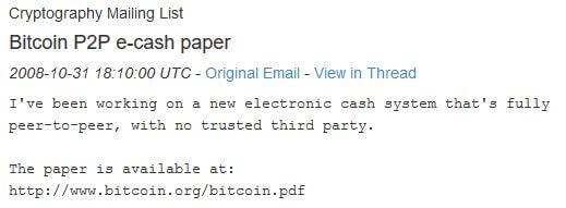 Bitcoin aankondiging