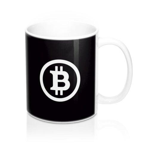 Bitcoin koffiebeker zwart
