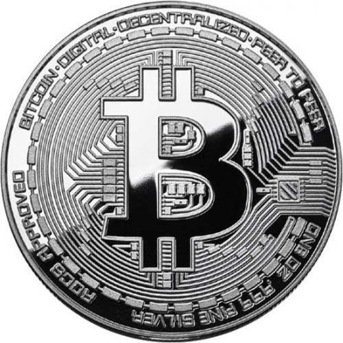 Bitcoin munt zilver voorzijde