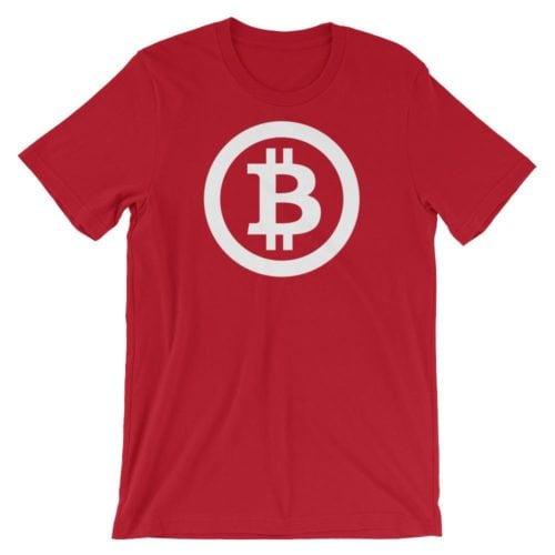 Bitcoin shirt logo rood