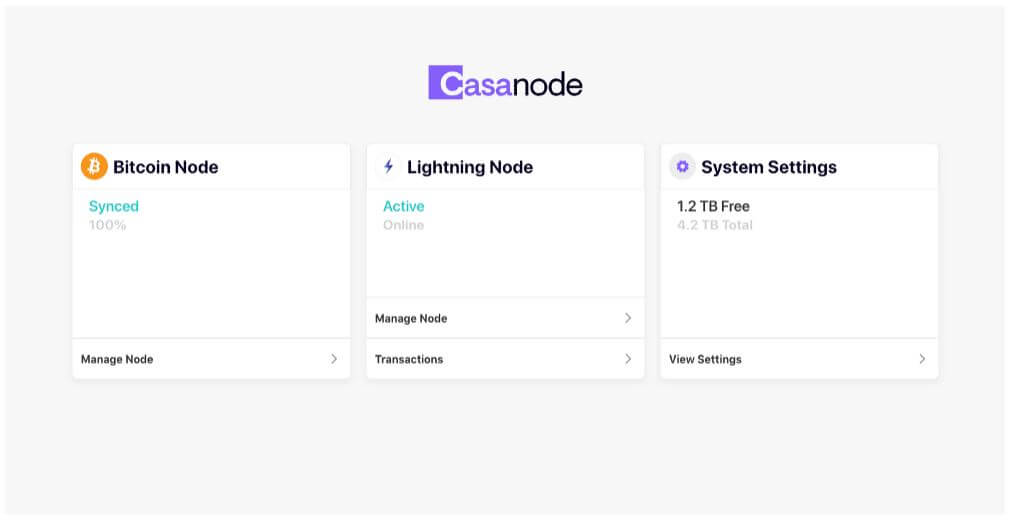 Het controlepaneel van de Casa node.