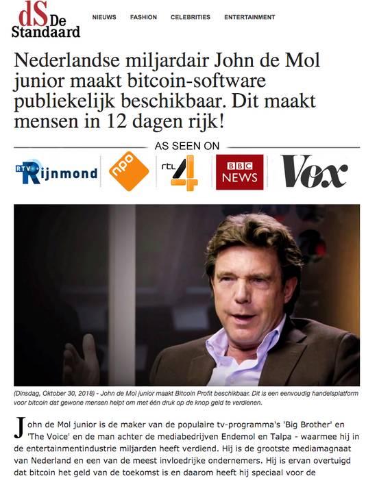 John de Mol Bitcoin scam